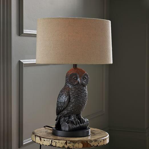 owl table lamp gunmetal natural west elm. Black Bedroom Furniture Sets. Home Design Ideas