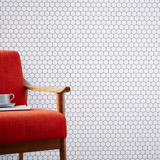 chasing paper removable wallpaper honeycomb tile west elm