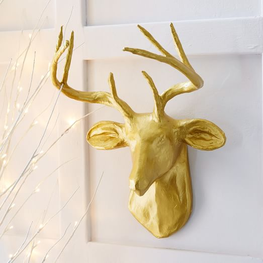 Papier mache animal sculpture golden deer west elm for Papier mache art for sale