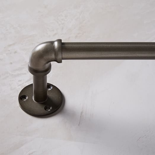 Industrial Pipe Adjustable Rod, Rubbed Iron, 28