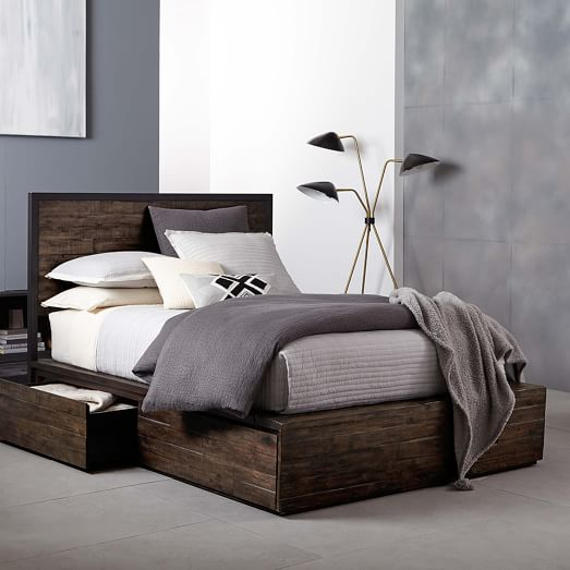 logan storage bed smoked brown west elm. Black Bedroom Furniture Sets. Home Design Ideas