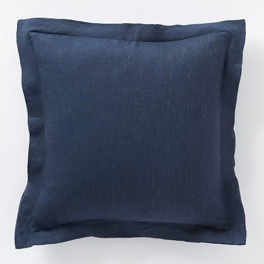 belgian flax linen pillow cover midnight west elm. Black Bedroom Furniture Sets. Home Design Ideas