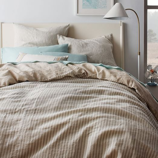 Striped Belgian Flax Linen Duvet Cover Shams Pale