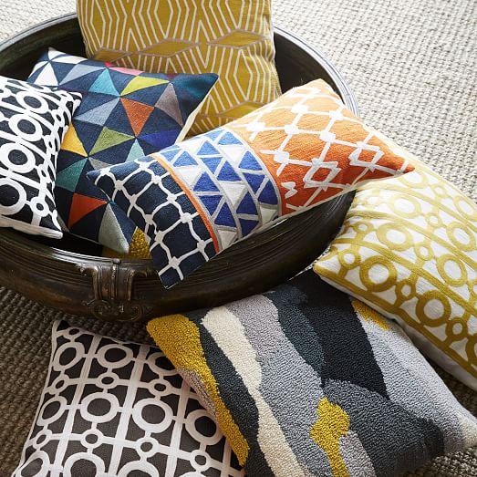 Crewel Circle Lattice Pillow Cover - Dark Mandarin west elm