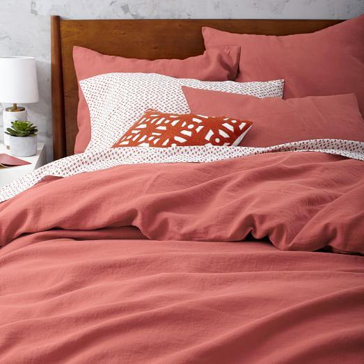 Belgian Flax Linen Duvet Cover Red Clay West Elm