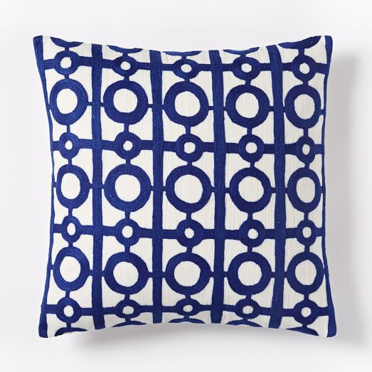 Crewel Circle Lattice Pillow Cover - Royal Blue