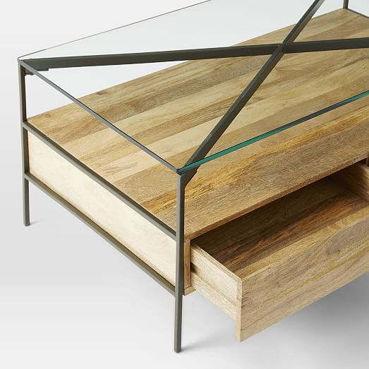 Glass-Topped Industrial Storage Coffee Table