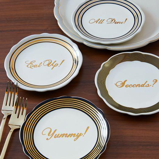 Fishs eddy gilded word side plates west elm for Fishs eddy dinnerware