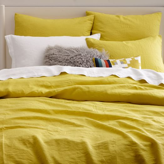 belgian flax linen duvet cover shams citrus yellow west elm. Black Bedroom Furniture Sets. Home Design Ideas