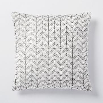 Jacquard Velvet Mosaic Pillow Cover Stone White West Elm