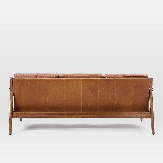 Mathias Mid Century Wood Frame Leather Sofa 82 5 Quot West Elm