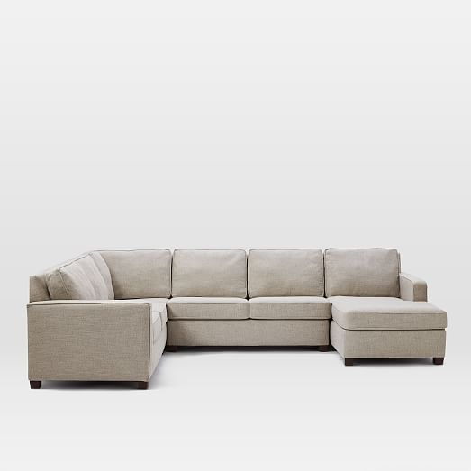 Henry 4 piece chaise sectional 130 w gravel twill for 4 piece sectional with chaise