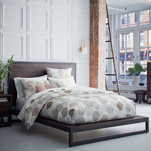 Logan platform bed smoked brown west elm for Bedroom inspiration west elm