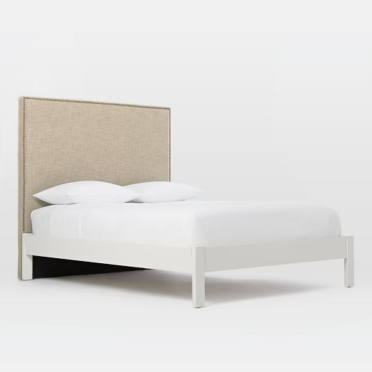 Tall Nailhead Headboard Natural Simple Bed Frame White West