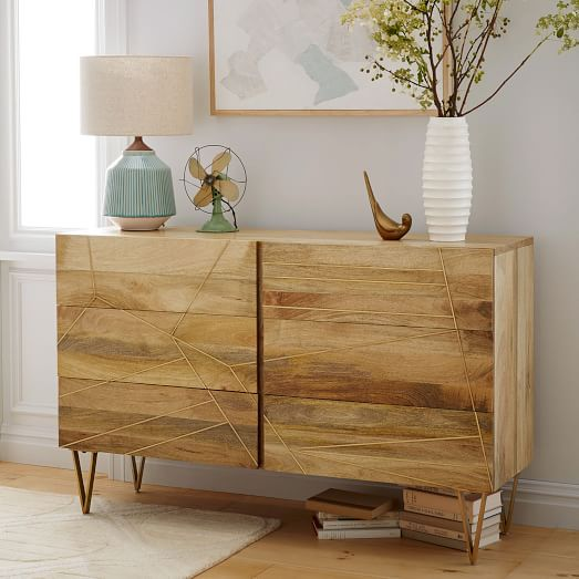 Roar Rabbit Brass Geo Inlay 6 Drawer Dresser Raw Mango