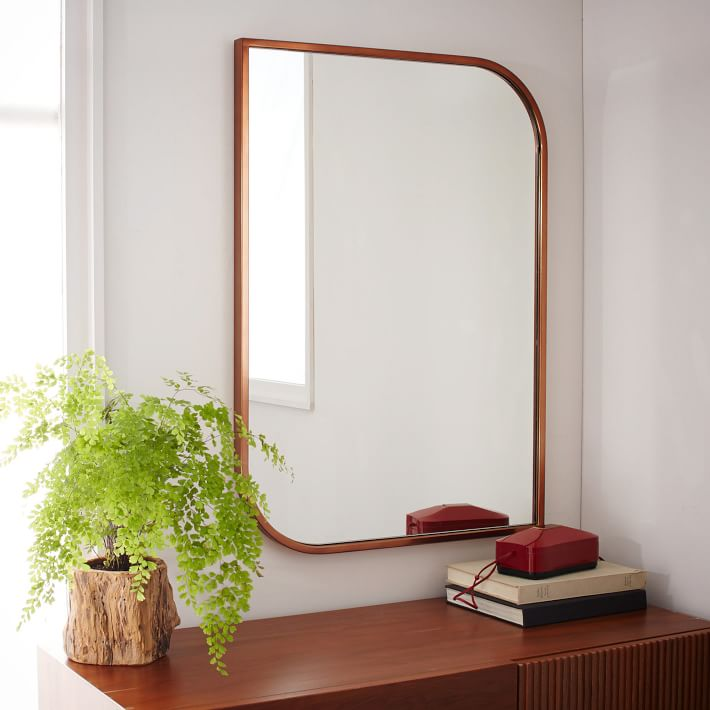 metal framed asymmetrical wall mirror rose gold west elm