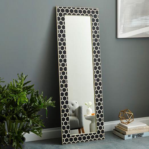 bone inlay floor mirror black west elm. Black Bedroom Furniture Sets. Home Design Ideas