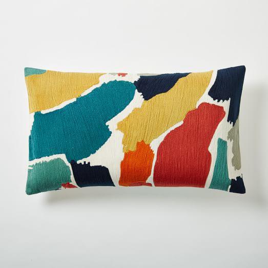Modern Brushstroke Crewel Lumbar Pillow Cover west elm