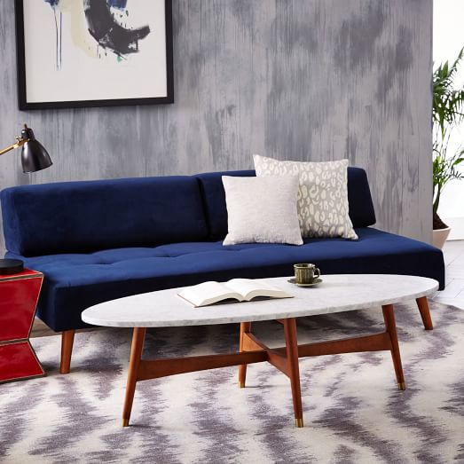 Reeve mid century oval coffee table marble top west elm for Oval coffee table with marble top