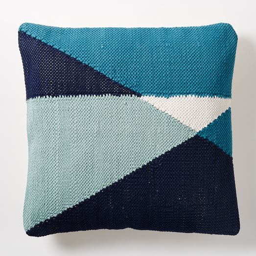 Chindi Colorblock Pillow Cover - Blue Teal