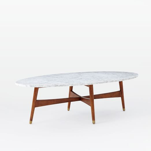Oval Coffee Table Marble: Reeve Mid-Century Oval Coffee Table - Marble Top