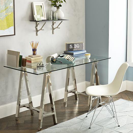 Cross Base Desk Polished Nickel West Elm