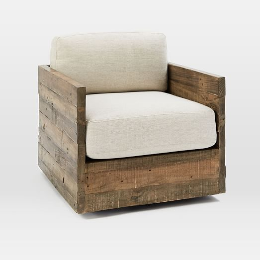 emmerson reclaimed wood swivel chair west elm
