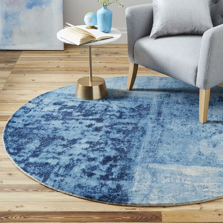 distressed rococo wool rug  round  west elm, 8' round blue rugs, blue round rugs 6 feet, round blue braided rugs