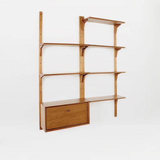mid century wall shelving set west elm. Black Bedroom Furniture Sets. Home Design Ideas