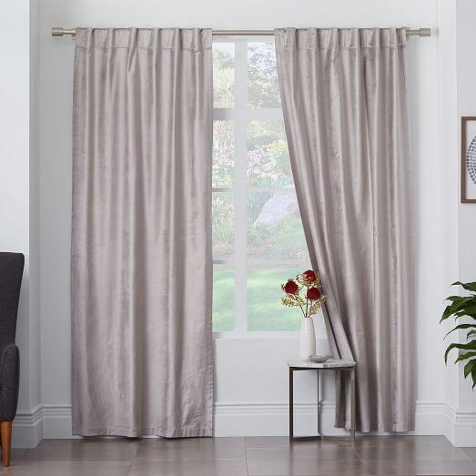 Cotton Luster Velvet Curtain Platinum West Elm