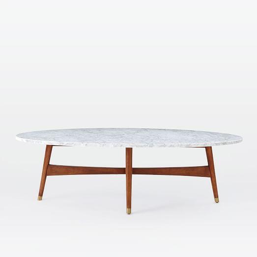 Reeve Mid Century Coffee Table Marble Walnut: Reeve Mid-Century Oval Coffee Table - Marble Top