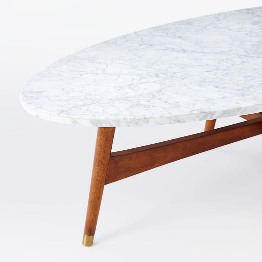 Mid Century Brass Marble Round Coffee Table: Reeve Mid-Century Oval Coffee Table - Marble Top