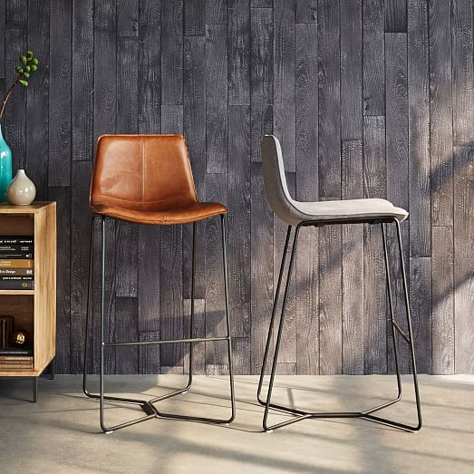 Upholstered Bar Stool Ridged Leg Stools With Backs And: Slope Upholstered Bar + Counter Stools