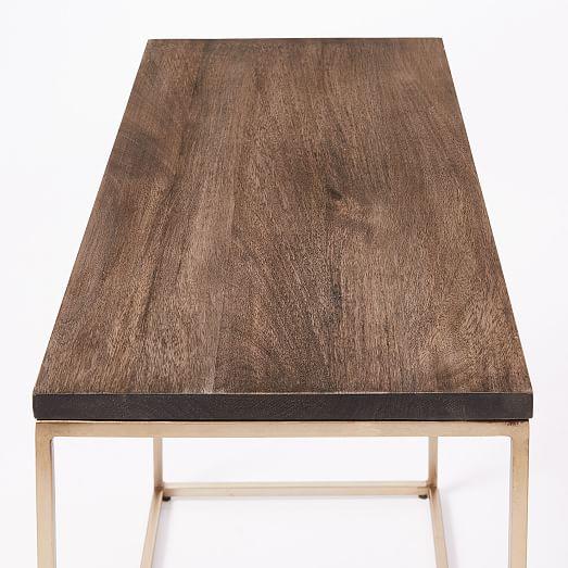 streamline narrow side table umber antique brass 1 c Streamline Coffee Table West Elm