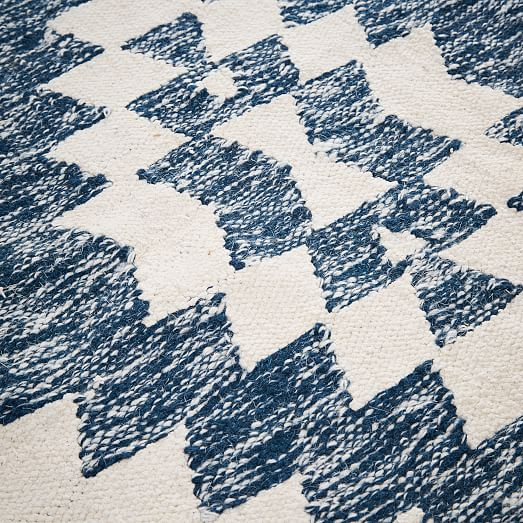 Palmette Chenille Wool Kilim Rug Midnight West Elm