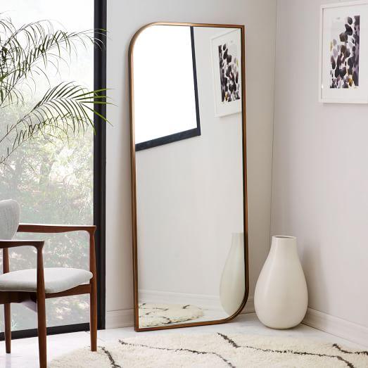 Metal Framed Asymmetrical Floor Mirror Rose Gold West Elm