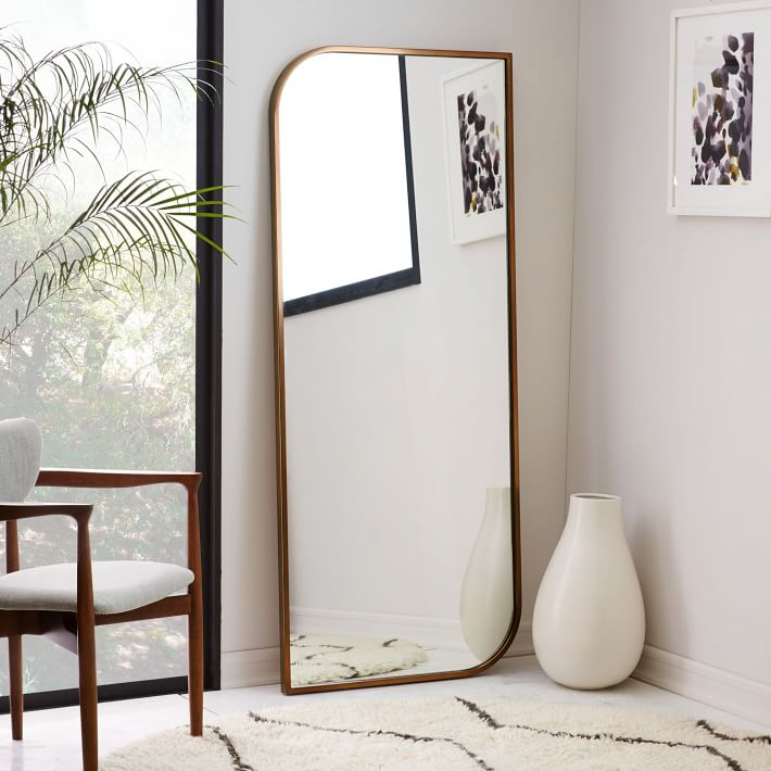 metal framed asymmetrical floor mirror rose gold west elm