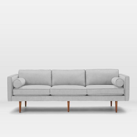 Monroe Mid-Century Grand Sofa, Yarn Dyed Linen Weave, Ice