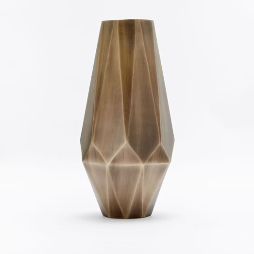 Faceted Deco Metal Vase, Antique Brass, Extra Tall