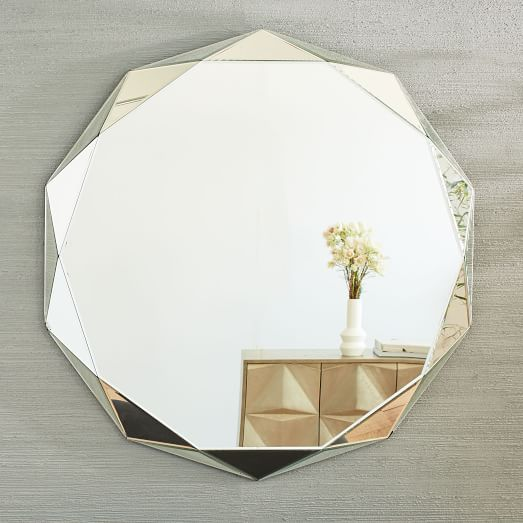 Faceted mirror oversized round west elm for Oversized mirror