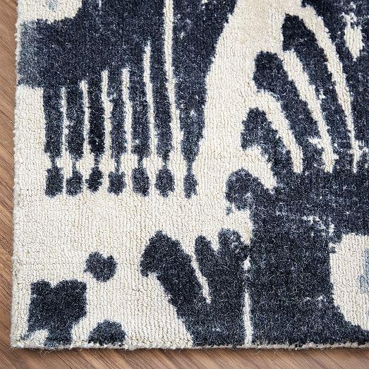 Distressed Floating Ikat Wool Rug