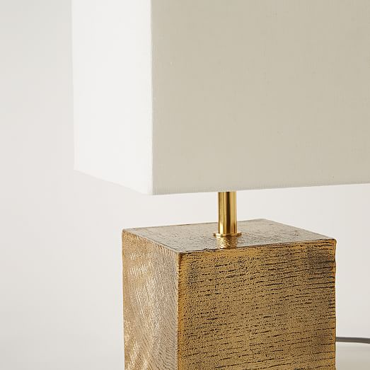 faux bois metal table lamp west elm. Black Bedroom Furniture Sets. Home Design Ideas