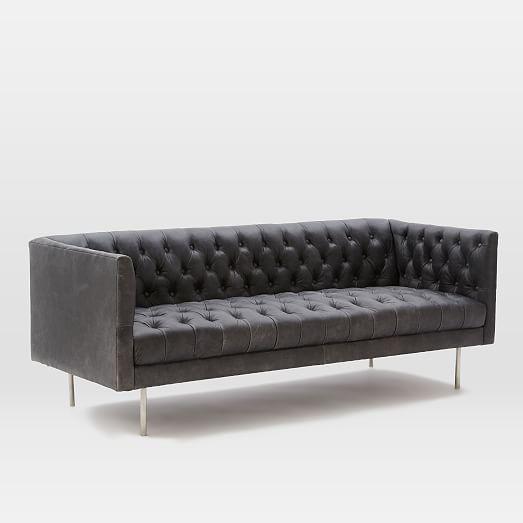 modern chesterfield leather sofa 79 west elm
