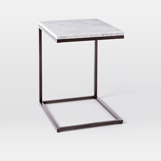Box Frame C Base Side Table MarbleAntique Bronze West Elm