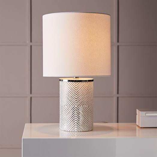 etched glass table lamp west elm. Black Bedroom Furniture Sets. Home Design Ideas