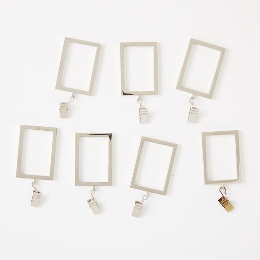Rectangle Metal Curtain Rings + Clips (Set of 7) - Polished Nickel ...