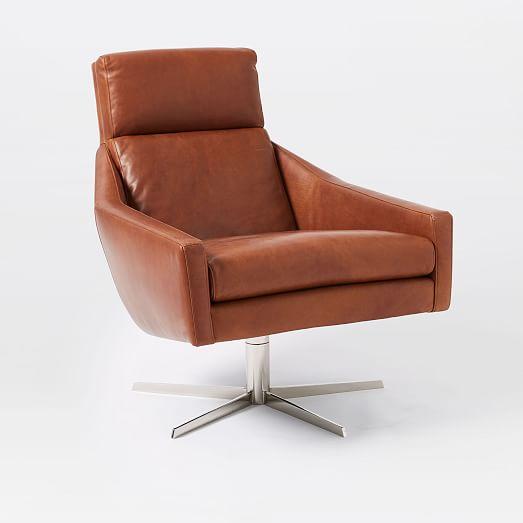Austin Leather Swivel Armchair