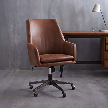 Helvetica High Back Leather Office Chair West Elm