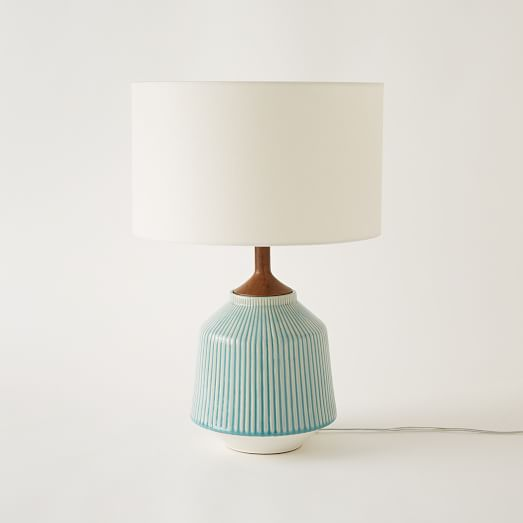 Roar + Rabbit Ripple Ceramic Table Lamp, Large, Turquoise