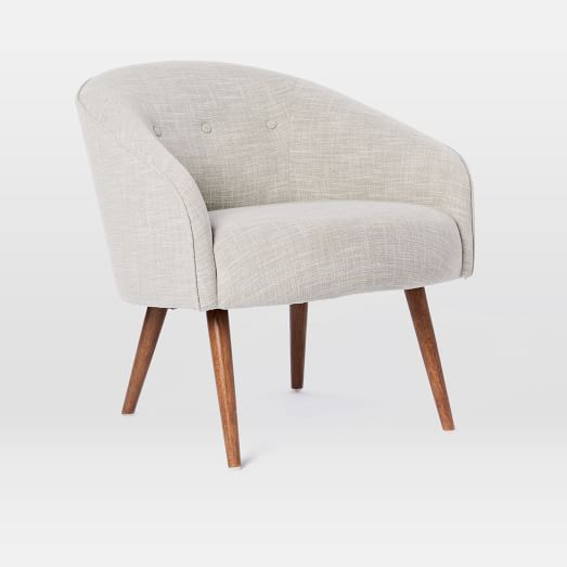 Eve Buttoned Chair, Linen Weave, Platinum